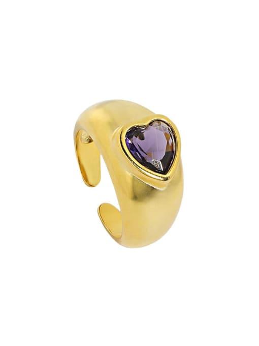 18K gold [15 adjustable] 925 Sterling Silver Cubic Zirconia Heart Vintage Band Ring